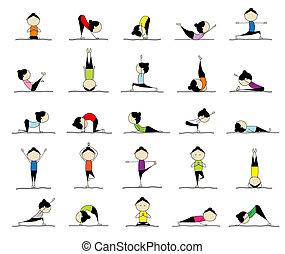 25, 婦女, 實踐, 瑜伽, 設計, 擺在, 你