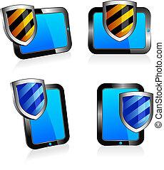 2d, antivirus, 盾, 片劑, 3d