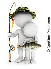 3d, 白色, 兒子, 釣魚, 人們