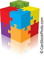 3d, 立方, 矢量, 反映, 難題