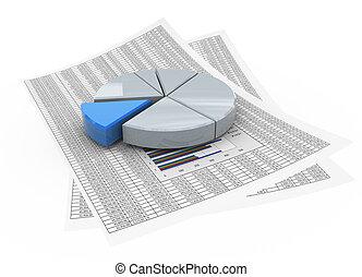 3d, 紙, 財政圖表, 餅