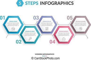 5, 步驟, infographics