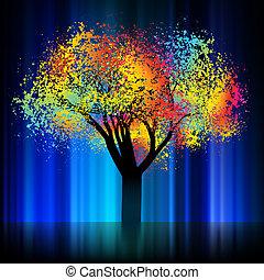 8, 樹。, eps, 鮮艷, 夜晚