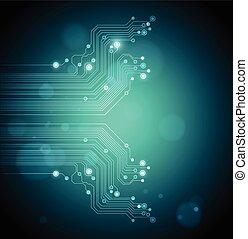 absract, 矢量, 技術, 綠色的背景