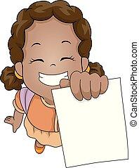 african, 插圖, 測試, 紙, 顯示, 女孩, 孩子