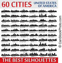 ameri, 難以置信, 國家, 黑色半面畫像, 團結, set., 地平線, 城市