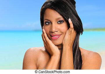 american婦女, 海灘, african