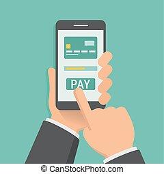 app, 設計, 藏品 手, 移動電話, 套間, 支付, 插圖