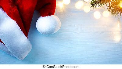 background;, 光, 帽子, 樹, 問候, 聖誕老人, 藝術, 圣誕節卡片