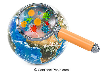 bacterias, 全球, 在下面, rendering, 玻璃, 細菌, 地球, 擴大, 3d