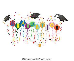 ballons, 畢業, 插圖, 慶祝