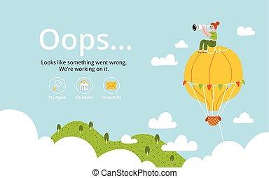 balloon, 空氣, 熱, oops, 錯誤, 頁