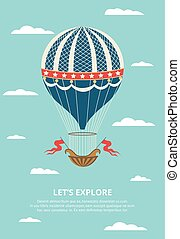 balloon, 空氣, 葡萄酒, 套間, illustration., 裝飾, 裝飾華麗, 矢量, 熱, 天空
