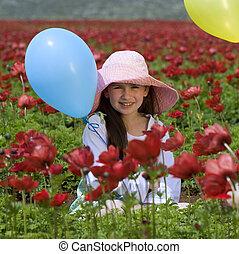 baloon, 女孩, 花, 紅色
