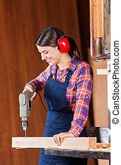 bandsaw, 木頭, 木匠, 女性, 操練