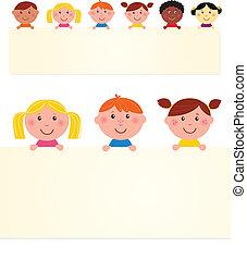 banner., 矢量, 孩子, 空白, 六, illustration., 多文化