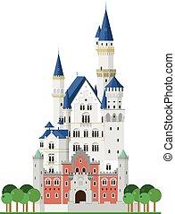 (bavaria, 城堡, neuschwanstein, 矢量, 白色, germany)., illustration., 背景, 被隔离