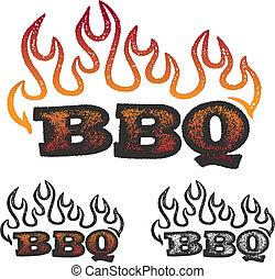 bbq, 火焰, 圖像