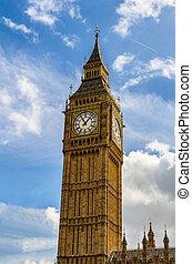 ben, 倫敦, 大, uk., 倫敦, 看法, 流行, 界標, 鐘塔, ben., 知道