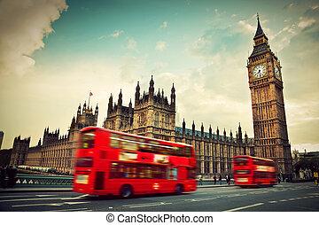ben, 大, 運動, uk., 公共汽車, 倫敦, 紅色