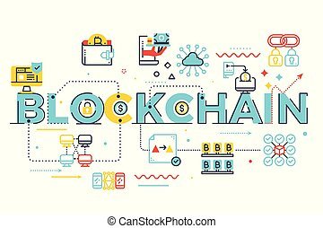 blockchain, 詞, 插圖, 字母
