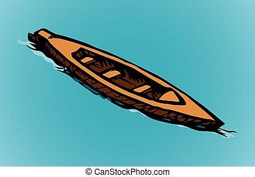 boat., 木制, 老, 矢量, 圖畫