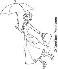 book:, 傘, mary, 小說, poppins, 飛行, 著色, 字