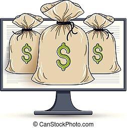 bookkeeping, 電腦監視器, 袋子, 概念, 錢, 在上方, 在網上, 錢, 銀行業務, 矢量, 網際網路, 儲金, 電子, 或者, design.