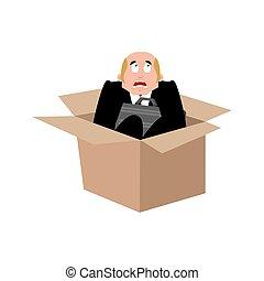 box., 事務, 惊嚇, 插圖, 老板, fear., 矢量, 商人, 受驚, man.