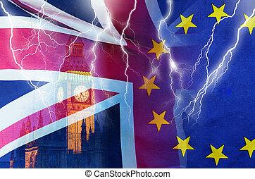 brexit, 交易, 不, 圖像, 協議, 閃電, 概念性, 倫敦, 英國, 良好, 旗, symbolising, 在上方, 破壞