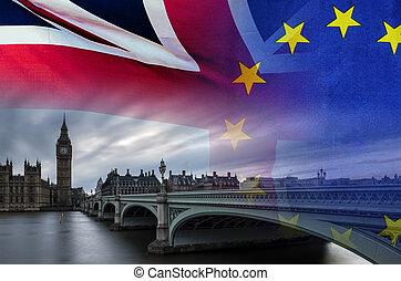 brexit, 交易, 是, 圖像, 協議, 概念性, 倫敦, 處理, 英國, 良好, 旗, overlaid, symbolising
