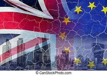brexit, 裂縫, 交易, 不, 圖像, 概念性, 倫敦, 英國, 良好, 旗, 在上方