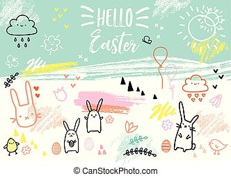 bunnies, hand-drawn, 矢量, 復活節, 卡片