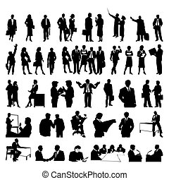 businessmen., 黑色半面畫像, 矢量, 黑色, 插圖