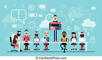 businesspeople, 設計師, 网, 工作, 隊, 工作場所