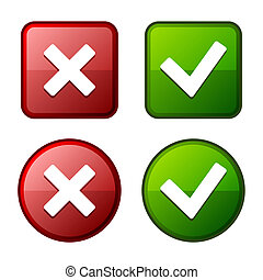 buttons., 馬克, 有光澤, vector., green., 屠夫, 檢查, 紅色