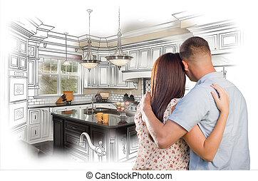 c, 裡面, 夫婦, 年輕, 習慣設計, 軍事, 圖畫, 廚房