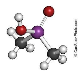 cacodylic, (agent, 酸, 除草劑, org, 分子, blue)., 有毒, 高度