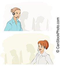 callcenter, 女孩, 二