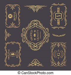 calligraphic, 植物, 葡萄酒, 框架, 彙整