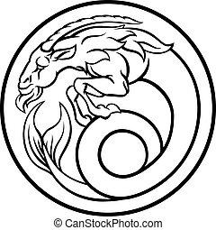 capricorn, 黃道帶, 簽署, 占星術, 星象