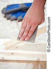 carpenter's, 工作, 手, 在期間