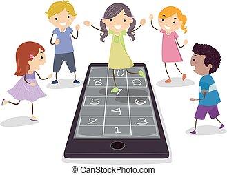 cellphone, 玩, 孩子, stickman, 跳房子游戲