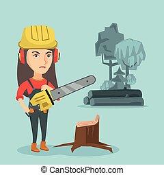 chainsaw., lumberjack, 年輕, 藏品, 高加索人