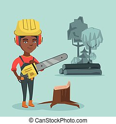 chainsaw., lumberjack, 年輕, 藏品, african
