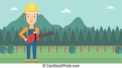 chainsaw., lumberjack