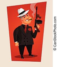 character., 插圖, 老板, 矢量, 黑手黨, 武裝, 卡通
