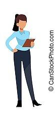 character., 矢量, 成功, 年輕, 工作的婦女, 辦公室, 概念, 專業人員, 現代的商務, 從事工商業的女性