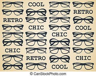 chic, retro, 眼鏡