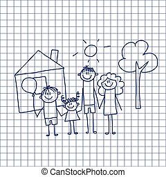 children., family., 愉快, 父親, 母親